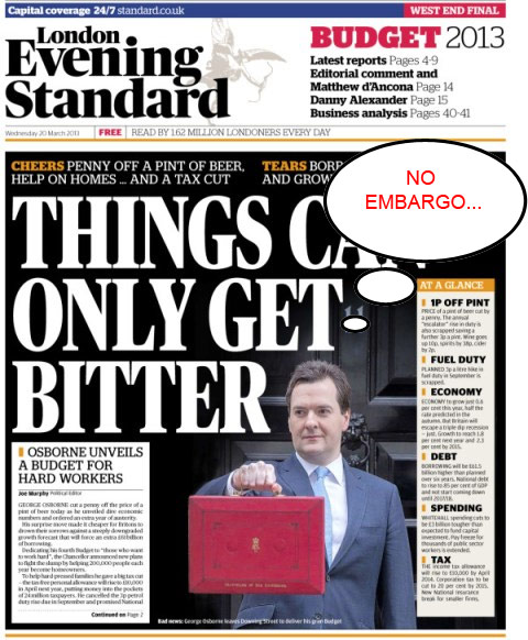 evening standard budget leak image